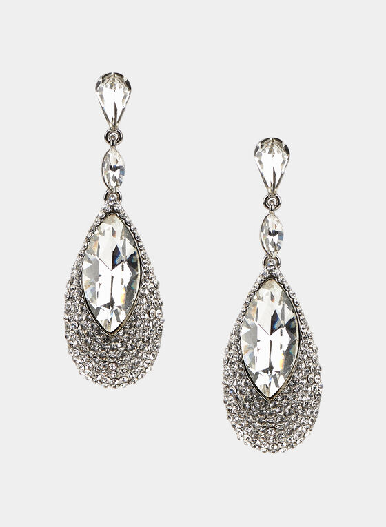 Teardrop Dangle Earrings, Silver, hi-res