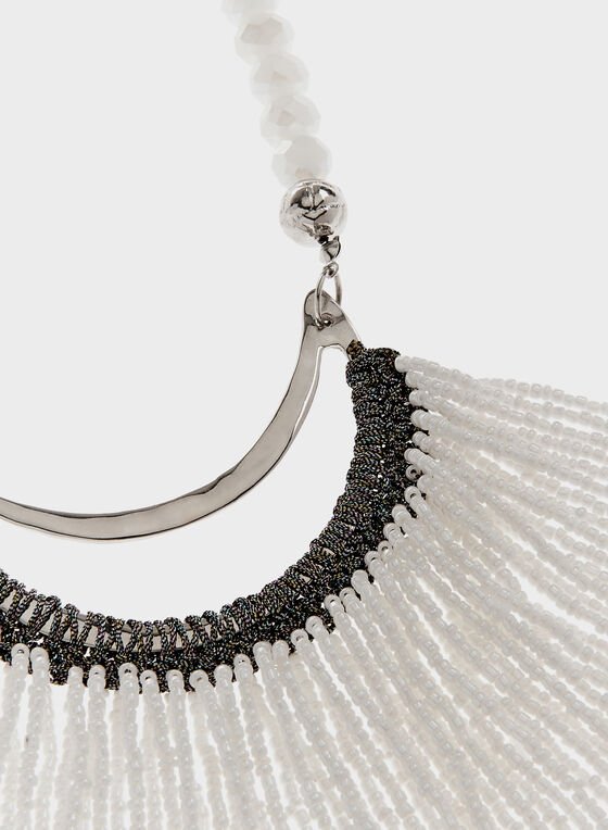 Collier cascade à billes et à perles, Blanc, hi-res