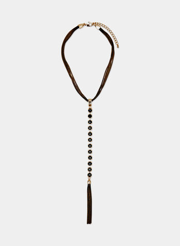 Multi Chain Tassel Necklace, Black, hi-res
