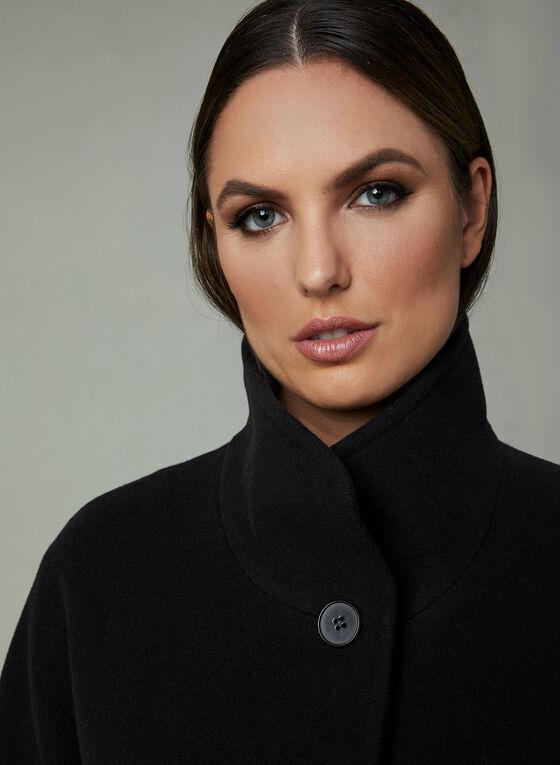 Mallia - Manteau à col montant en cachemire mélangé, Noir