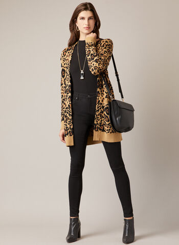 Open Front Leopard Print Cardigan, White,  Fall winter 2020, cardigan, open, leopard print, knit, long sleeves