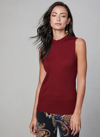 Sleeveless Ribbed Knit Top, Red,  sleeveless, knit, mock neck, ribbed, fall 2019, winter 2019