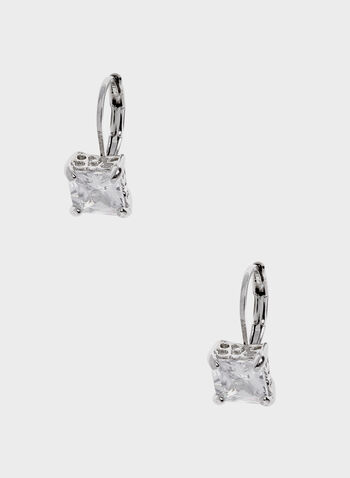 Cubic Zirconia Stud Earrings, Silver, hi-res