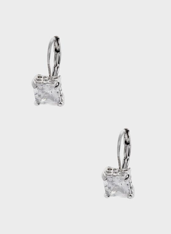 Boucles d'oreilles à pierre carrée, Argent, hi-res
