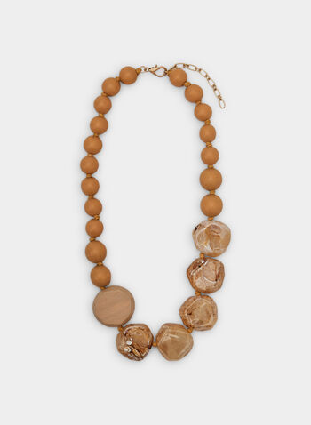 Wood Marble Necklace, Off White,