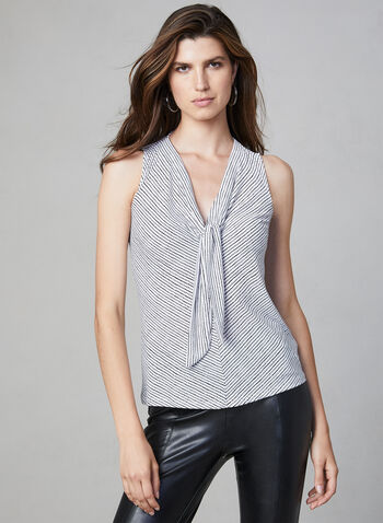 Dot Print Sleeveless Top, White, hi-res,  sleeveless, stripe print, jersey, fall 2019, winter 2019