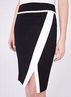 Contrasting Ponte Pencil Skirt, Black, hi-res