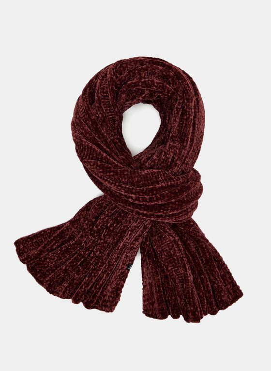 Chenille Knit Scarf, Red, hi-res