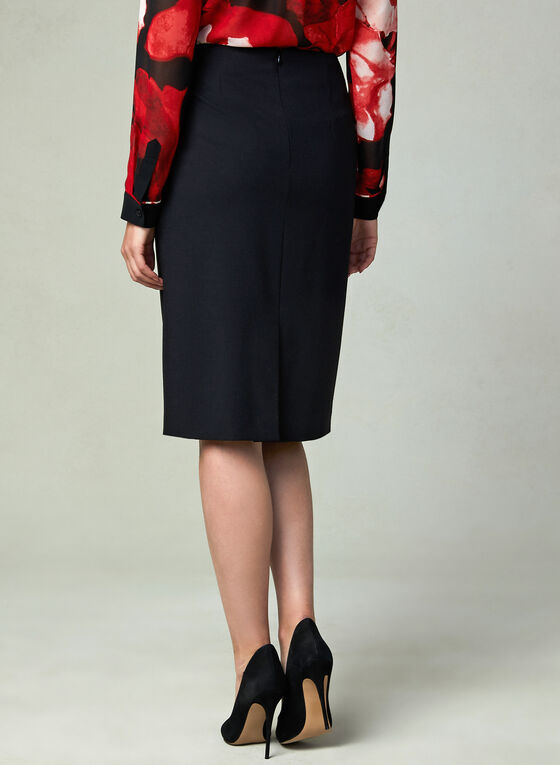 Louben - Faux Wool Pencil Skirt , Black, hi-res