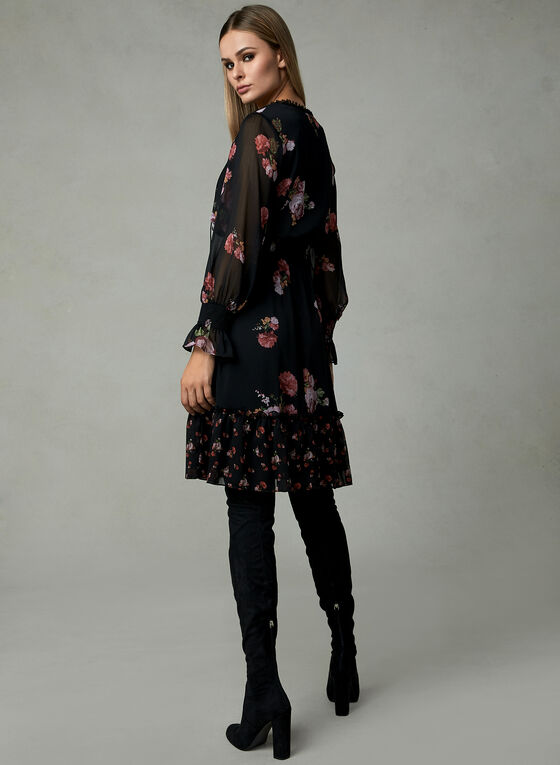 Adrianna Papell - Floral Print Long Sleeve Dress, Black, hi-res