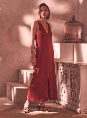 V Neck Maxi Dress, Red,  spring summer 2021, dress, maxi dress, V neck, halter, halter dress, wide strap, golden, metallic detail, fit & flare, front slit, flowing, stretch