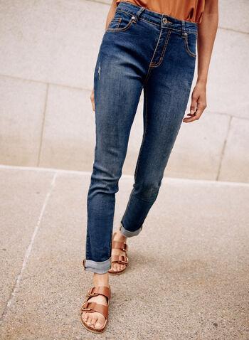 Jeans à jambe étroite  , Bleu,  printemps été 2021, bas, jeans, denim, jambe étroite, étroit, bouton, glissière, anses, ourlet replié, délavé, déchiré