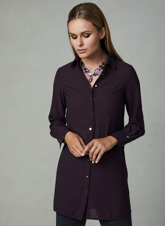 Long Sleeve Tunic Blouse, Purple, hi-res