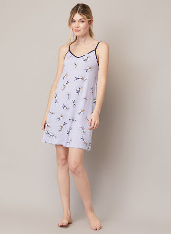 Robe de nuit florale à bretelles, Violet,  automne hiver 2020, robe de nuit, pyjama, chemise de nuit