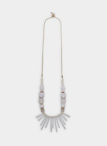 Suede String Beaded Necklace, White, hi-res
