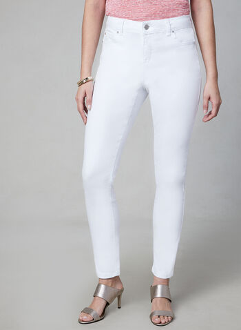 Slim Leg Jeans, White, hi-res,  jeans, slim leg, spring 2019