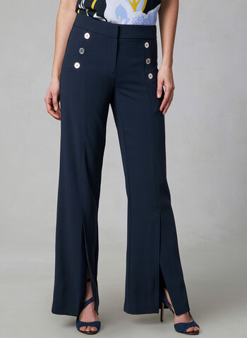 Wide Leg Button Detail Pants, Blue, hi-res