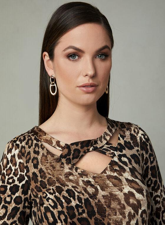 Blouse à col ajouré et motif léopard, Brun, hi-res