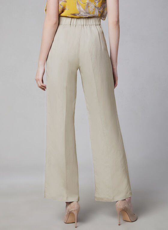 Wide Leg Linen Blend Pants, Off White