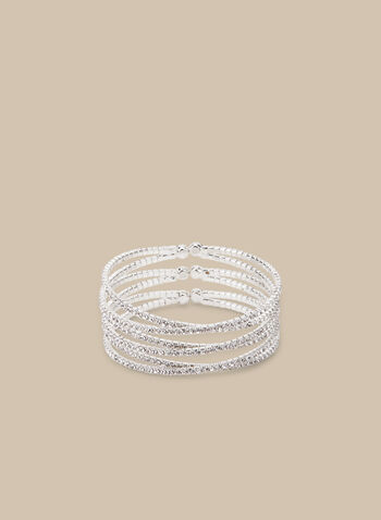 Crisscross Cuff Bracelet, Silver,  bracelet, cuff, crystals, crisscross, multi-row, metallic, spring summer 2020