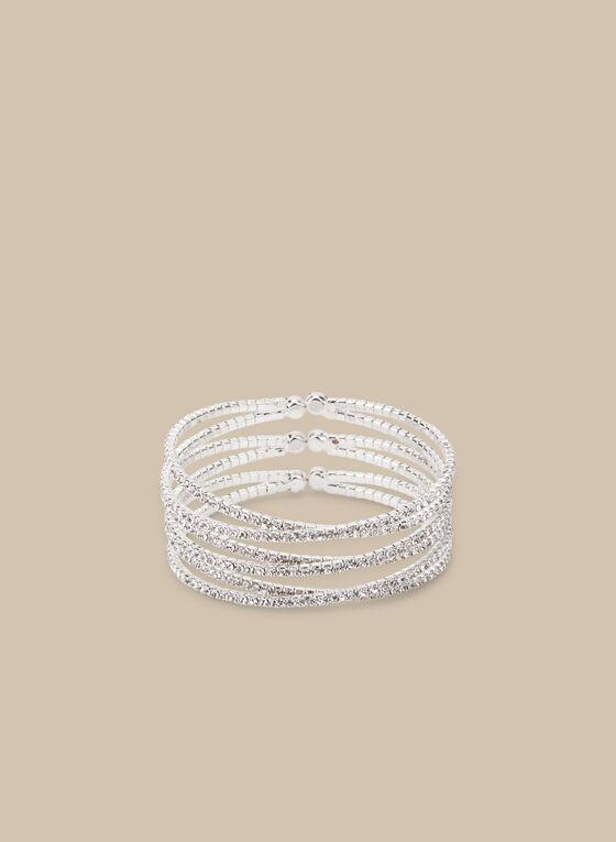 Bracelet manchette à cristaux, Argent