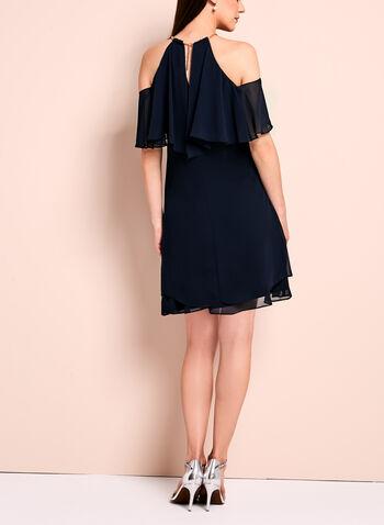Ruffle Trim Cold Shoulder Dress, , hi-res