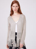 Cartise - Open Front Fringe Cardigan, Brown, hi-res