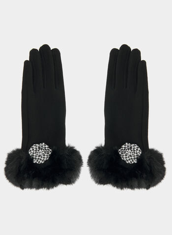 Faux Fur Cuff Gloves, Black, hi-res,  gloves, pearls, houndstooth print, houndstooth, flower, fall 2019, winter 2019