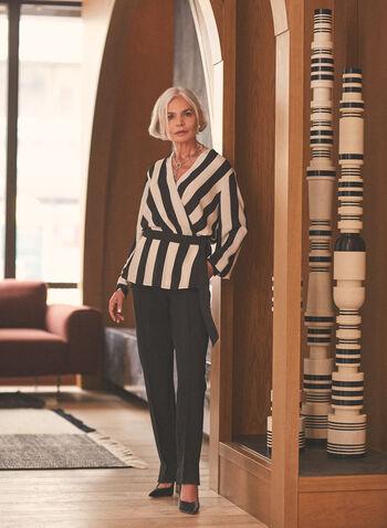 Stripe Print Crossover Tunic, Black,  top, stripe print, tunic, crossover, v-neck, crepe, spring summer 2021