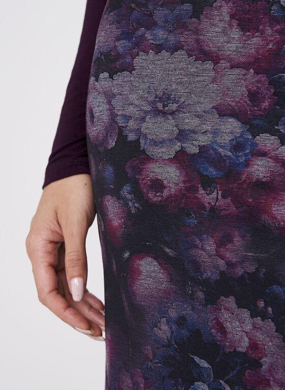 Jupe crayon à motif floral, Rouge, hi-res