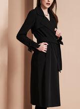 Novelti - Bow Detail Trench Coat, Black, hi-res