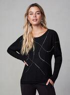 Studded Dolman Sleeve Sweater, Black