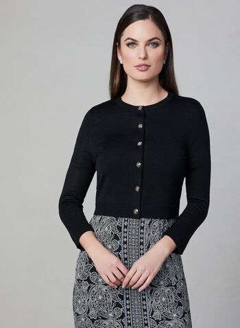 Karl Lagerfeld Paris - Button Up Bolero, Black, hi-res