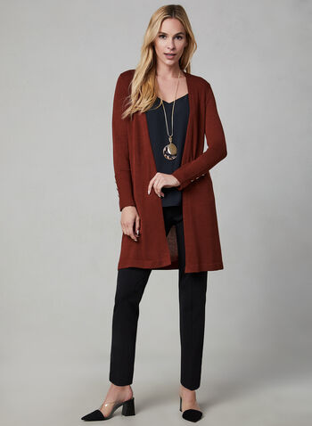 Open Front Cardigan, Orange, hi-res,  cardigan, open front, knit, long sleeves, fall 2019, winter 2019