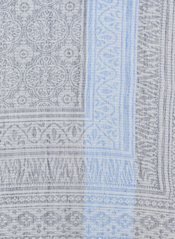Folk Art Jacquard Print Wrap, Blue, hi-res