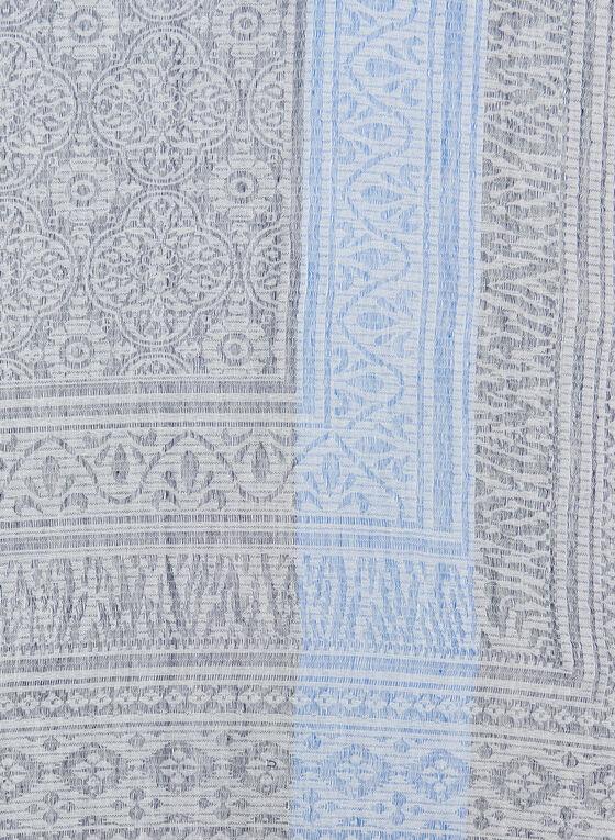 Folk Art Jacquard Print Wrap, Blue, hi-res