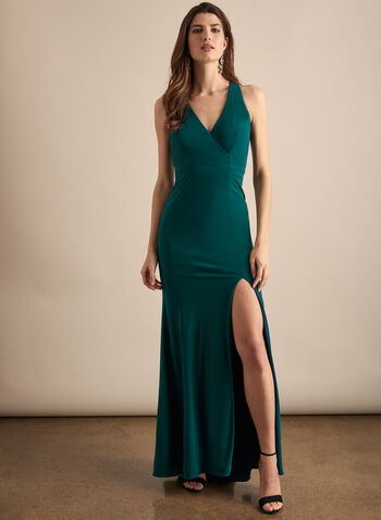 BA Nites - Sleeveless V-Neck Evening Dress, Green,  dress, gown, evening, occasion, jersey, v-neck, crossover, column, sleeveless, high slit, spring summer 2020