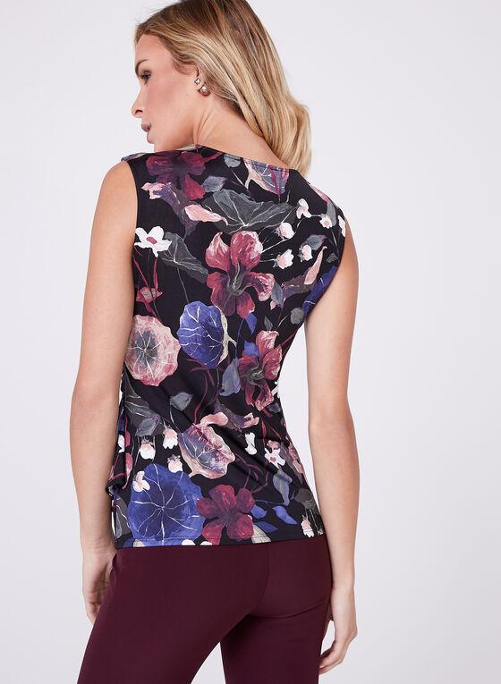 Floral Print Side Drape Top, Purple, hi-res