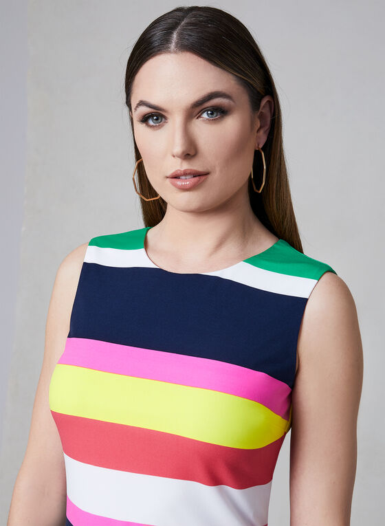 Frank Lyman - Stripe Print Dress, Blue, hi-res