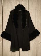 Faux Fur Trim Poncho, Black