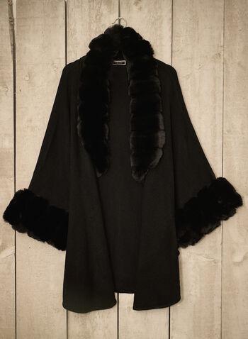 Faux Fur Trim Poncho, Black,  fall winter 2021, accessories, poncho, faux fur trim, warm