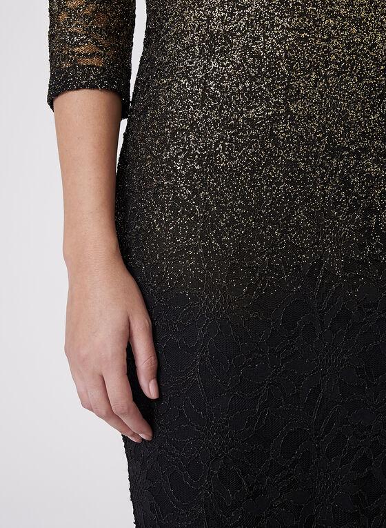 Robe ombrée métallisée manches ¾ et épaules dénudées, Noir, hi-res