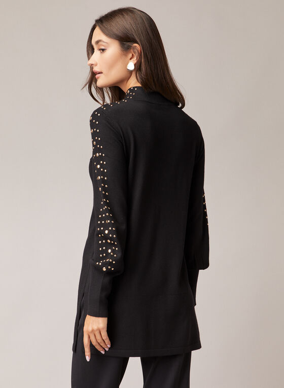 Stud Detail Tunic Sweater, Black