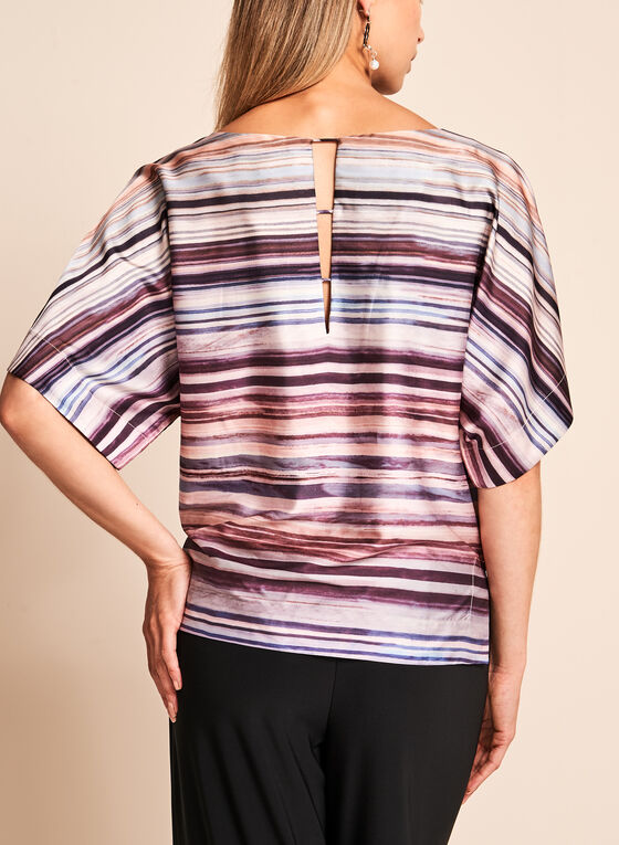 Kimono Sleeve Stripe Print Top, Red, hi-res