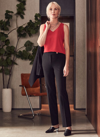 Lauren Fit Pants, Black,  pants, lauren, straight leg, pleats, mid rise, stretchy, spring summer 2021