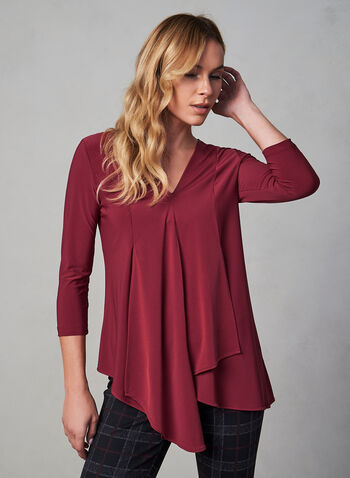 Asymmetric Hem Blouse, Red,  v-neck, top, blouse, 3/4 sleeves, asymmetric, tunic, stretch, fall 2019, winter 2019