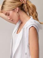 Sleeveless Hooded Linen Duster, White