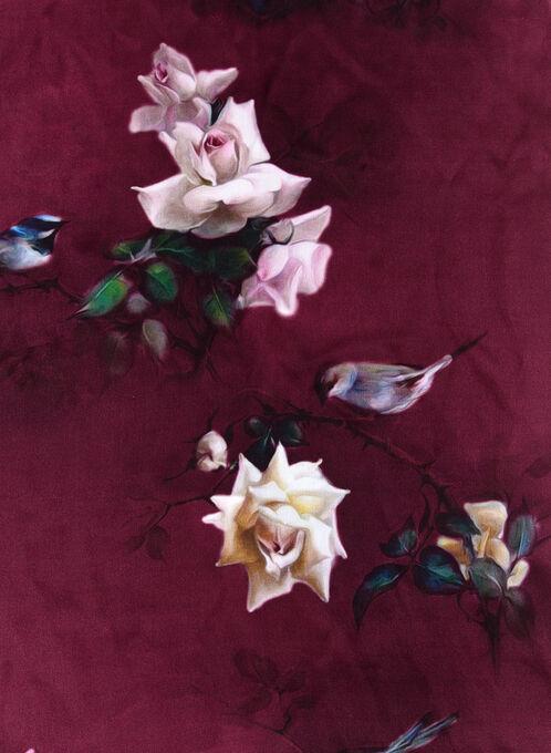 Foulard de soie à motif floral, Rouge, hi-res