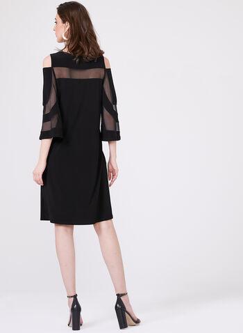 Frank Lyman – Mesh Trim Bell Sleeve Cold Shoulder A-Line Dress, Black, hi-res