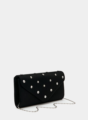 Faux Suede Clutch , Black, hi-res